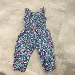 Carter's baby girl floral jumpsuit blue green romper