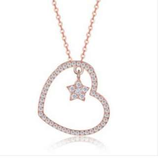 S925 Silver Heart Hanging Stars Rose Gold Necklace