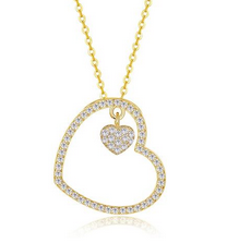 S925 Silver Heart Pendant Diamond Gold Necklace