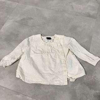 Baby GAP silver polka dots top blouse bottom down long sleev