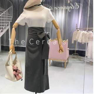 TC2299 Korea 2 Pieces Plain White Top + High Waist 1 Piece Ribbon Skirt (Set)