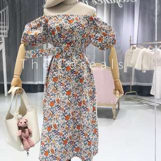 TC2300 Korea Shoulder Off Bubble Sleeve Flowers Printed Belted Dress (White,Navy)