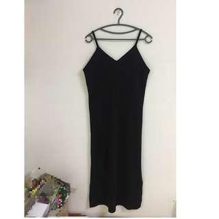 黑色吊帶長裙 洋裝