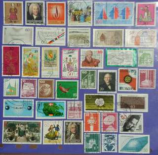 Different 40 pcs Germany Deutsche Bundespost Used Stamps