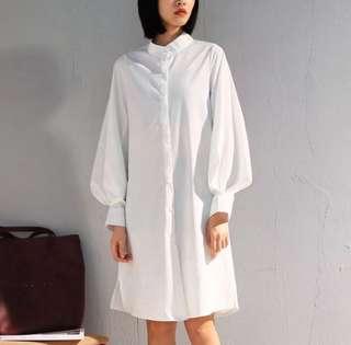 2018 spring lantern sleeves collar chiffon shirt female long-sleeved Korean loose long shirt dress