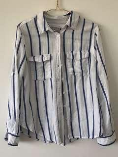 Cotton On Blue Stripe Button Up Top