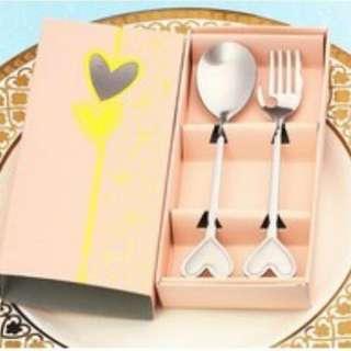 Spoon aand Fork Peach Box WWedding Souvenirr