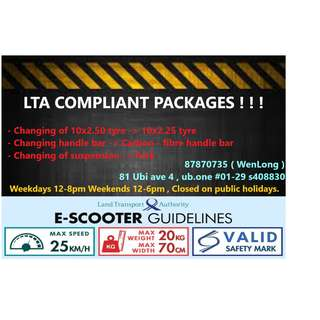 Lta compliant package for /speedway /oem/ dualtron/ ultron / darkknight / futecher/passion/shengte/mini