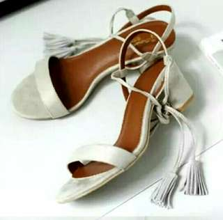 New Tussel Lace up block heels