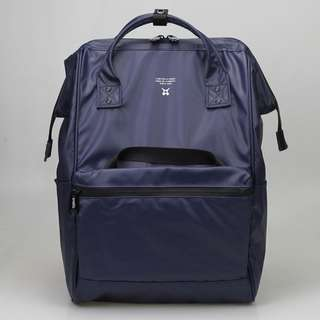 PVC Authentic Anello Leather Backpack/ Navy Blue.