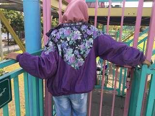 Purple Flower Rose Blossom Tropical Summer Parachute Jacket