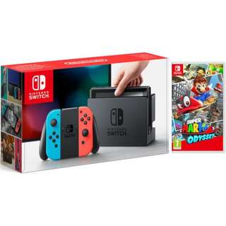 SALE BNIB Nintendo Switch Console Neon Red/Blue + Mario Odyssey Bundle