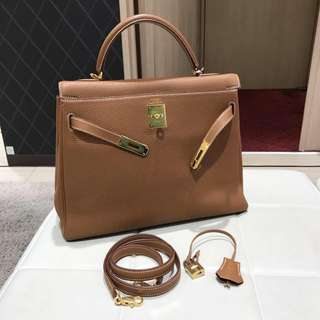 Hermes kelly 32 togo gold ghw