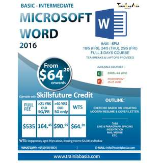 MICROSOFT WORD 2016 (Basic-Intermediate)