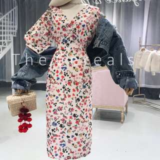 TC2302 Korea Flowers Printed Ribbon Long Dress