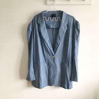 PLUS SIZE Size 24 (3XL-4XL) Splash Bliss Blue Women Korean Style Blazer Jacket @sunwalker