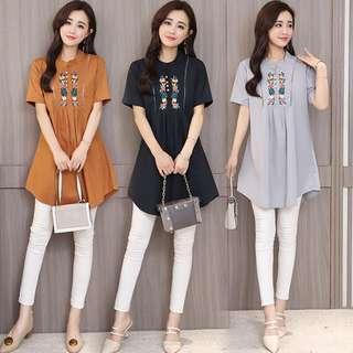 (M~4XL) Embroidery Top Shirt Collar Short Sleeve T-Shirt Cotton
