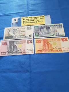 SINGAPORE OLD CURRENCY NOTES.   4 PIECES AS SHOWN.   ALL UNCIRCULATED.