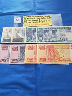 SINGAPORE OLD CURRENCY NOTES.   8 PIECES AS SHOWN.   ALL UNCIRCULATED.