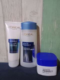 Bundle-loreal paris(white perfect milky foam,white perfect whitening and moisturizing toner, white perfect day cream)
