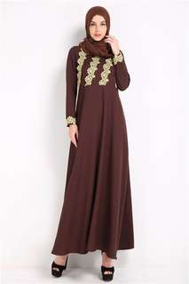 Muslim: Coffee Stylish Gilding Lace Floral Muslim Maxi Dress without Head Scarf (M / L / XL) - OA/HHE011820
