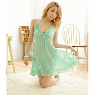 TCWK Sexy Women Green Lace Polyester Transparent Lingerie E313