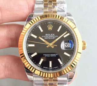 Rolex Datejust II 18K Yellow Gold Bezel Black Dial 3235 Swiss Engine