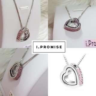 Swarovski elements crystal pink heart necklace