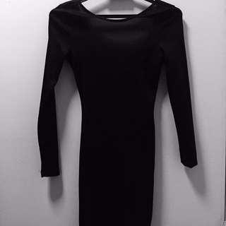 H&M SHINE BLACK BODYCON DRESS