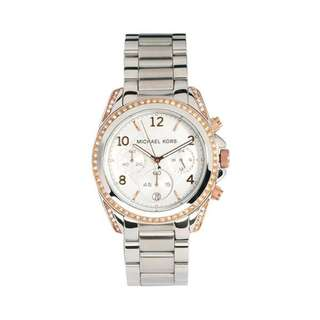 BLAKE SILVER AND ROSE GOLD DIAL STAINLESS STEEL LADIES' WATCH MK5459