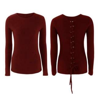 Long Sleeve Knitted Back Lace Tie Up