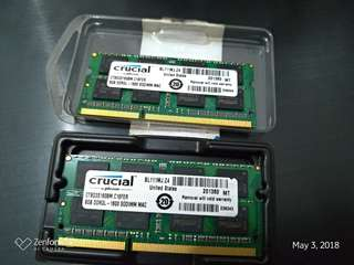 Crucial 16GB RAM Memory for laptops 2x8GB Stick DDR3L PC3L Low Voltage 1600Mhz Sodimm
