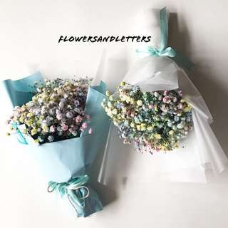 Mixed coloured rainbow Baby Breath Bouquet fresh flowers hand bouquet flower bouquet