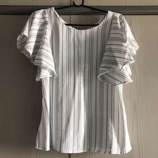 Stripes ruffle sleeves top