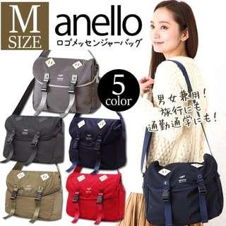 Anello AT-B1621 Nylon Messenger Bag/ Navy Blue/ Large
