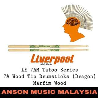 Liverpool LE 7AM Tatoo Series 7A Wood Tip Drumsticks (Dragon), Marfim Wood