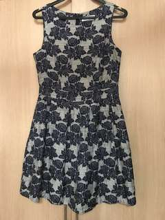 Grey with Blue Floral Dress