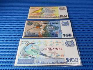 Singapore Bird Series $1, $5, $10, $20, $50 & $100 Note Dollar Banknote Currency ( Lot of 6 Pieces )