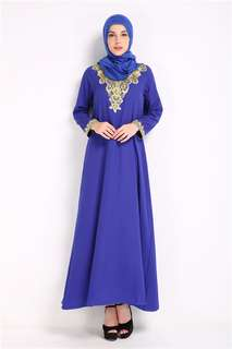 Muslim: Blue Quality Gilding Lace Embroidered Muslim Dress without Head Scarf (M / L / XL) - OA/HHE011819