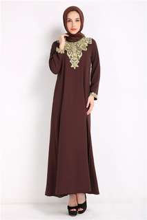 Muslim: Coffee Quality Gilding Lace Embroidered Muslim Dress without Head Scarf (M / L / XL) - OA/HHE011819