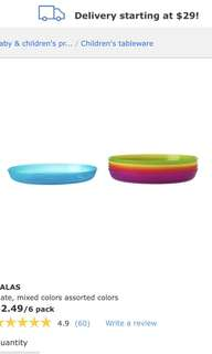 IKEA Kiddie Plates Assorted Colors 6pc
