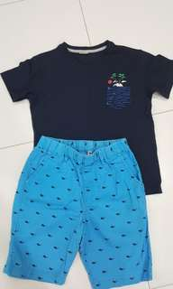 Uniqlo pants size L & T-shirt for 8-9 years