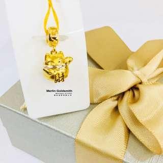 916 Gold Fortune Cat Charms in 2 alternating colour  916 黄金 金钱招财猫吊坠- 分色
