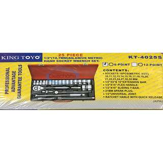 "King Toyo 25pcs 1/2"" Drive Metric Hand Socket Wrench Set"