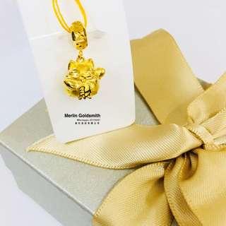 916 Gold Fortune Cat Charms  916 黄金 金钱招财猫吊坠