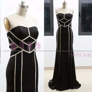 [SAMPLE SALE] Sexy Slim Wedding Prom Evening Dress Black Gown
