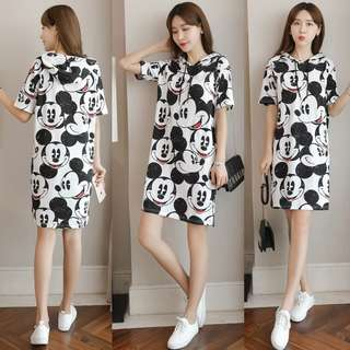 Vintage Mickey Mouse Prints Hoodie T-shirt Dress