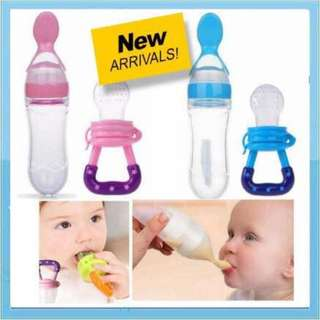 2 in 1 Silicone Baby Squeeze Feeder Bottle+Nipple Feeder