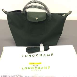 Longchamp Green le Pliage neo M brand new