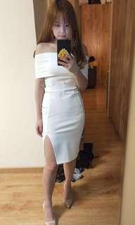 3 White Off shoulder Dress (S, L & L) NEW